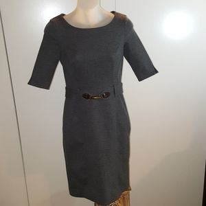 BANANA REPUBLIC Grey belted dress.